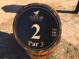Old oak barrels at the tee box mark the start of each hole