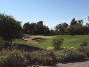 The Par 3 17th hole is tough, especially when the pin is tucked all the way back left behind the bunkers.