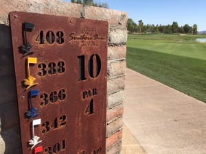 "Each hole has it's Indian name carved into a piece of iron in that cool, A-Team font. No. 10 is called ""By the Pond."""